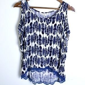 Wishful Park Cold Shoulder Blue Feather Top Medium